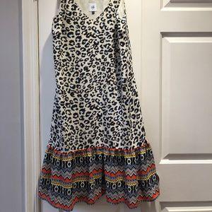 CAbi leopard print slip dress, size M